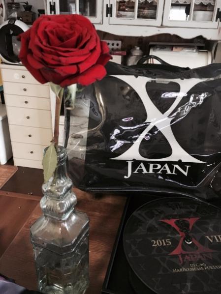 X JAPAN in マリンメッセ福岡にてYOSHIKIの投げたバラを見事キャッチしたタキツバ母。の画像